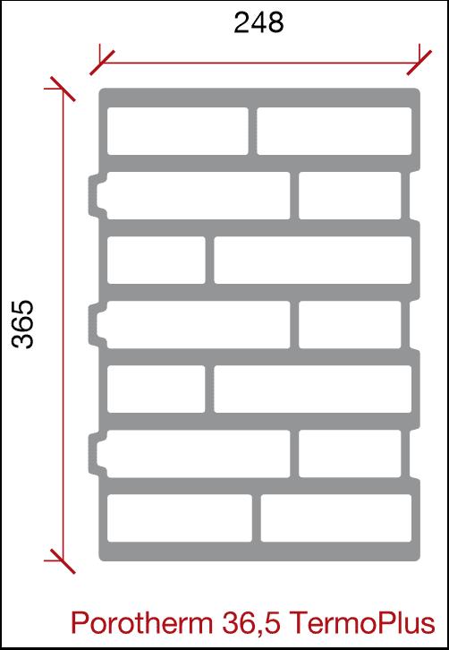 Porotherm 35,5 TermoPlus schita