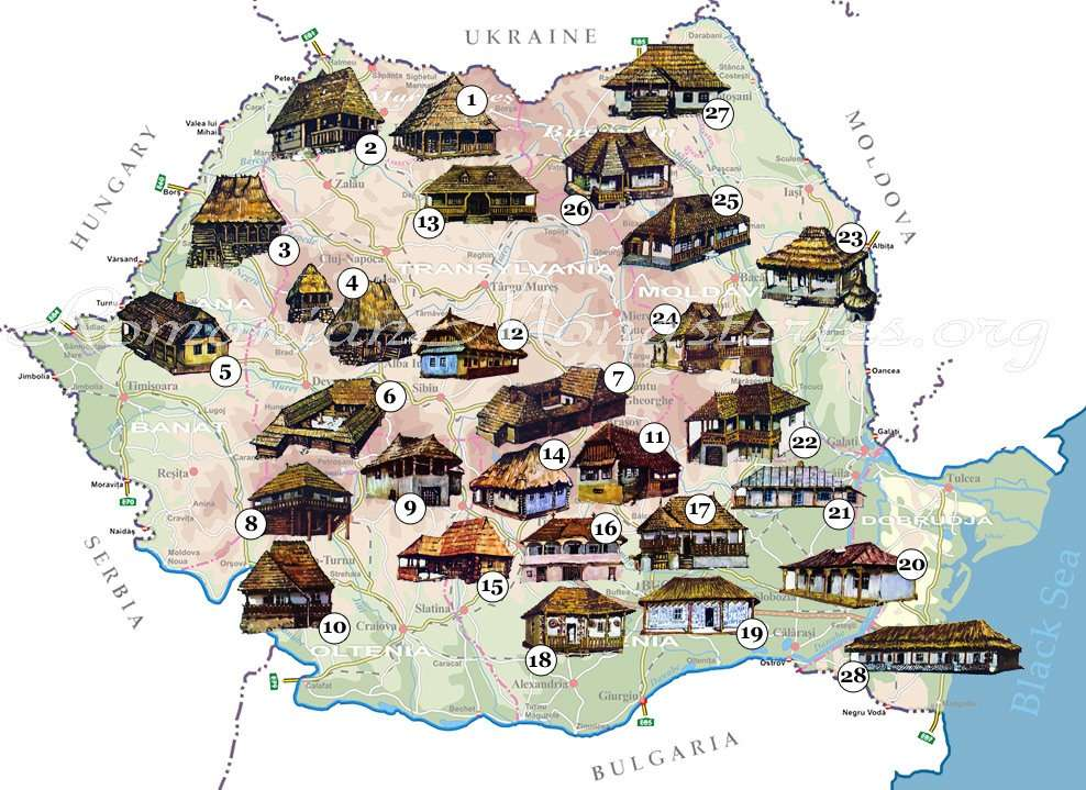 Harta cu toate tipologiile de arhitectura traditionala