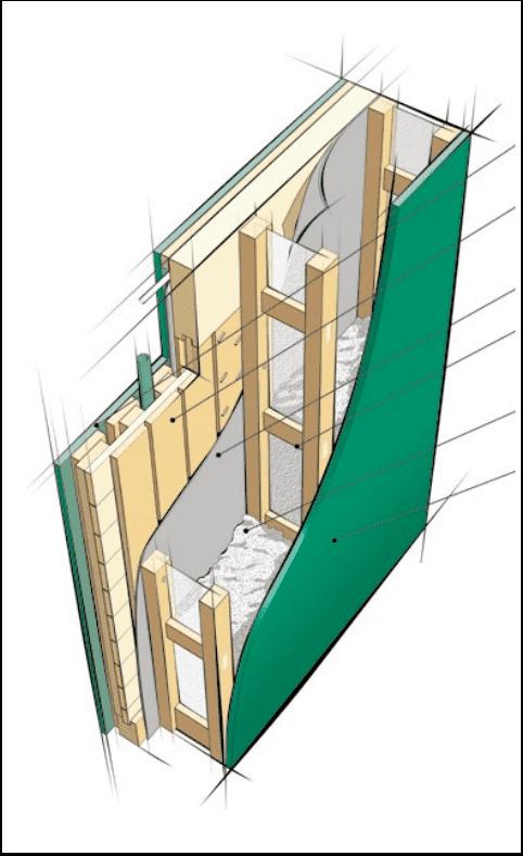 Perete lemn cu extensie in care e suflata celuloza
